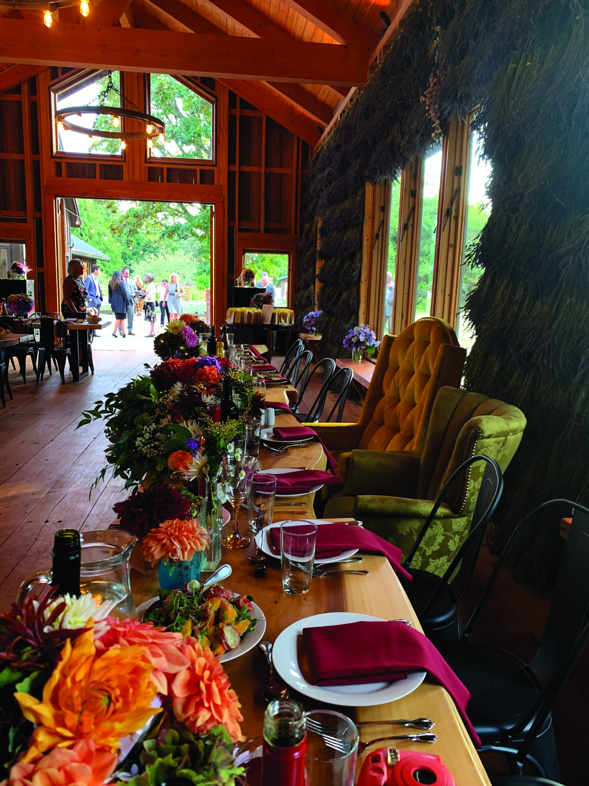 Charming Farm Wedding Reception Table with Vintage Chairs at Bilston Creek Farm