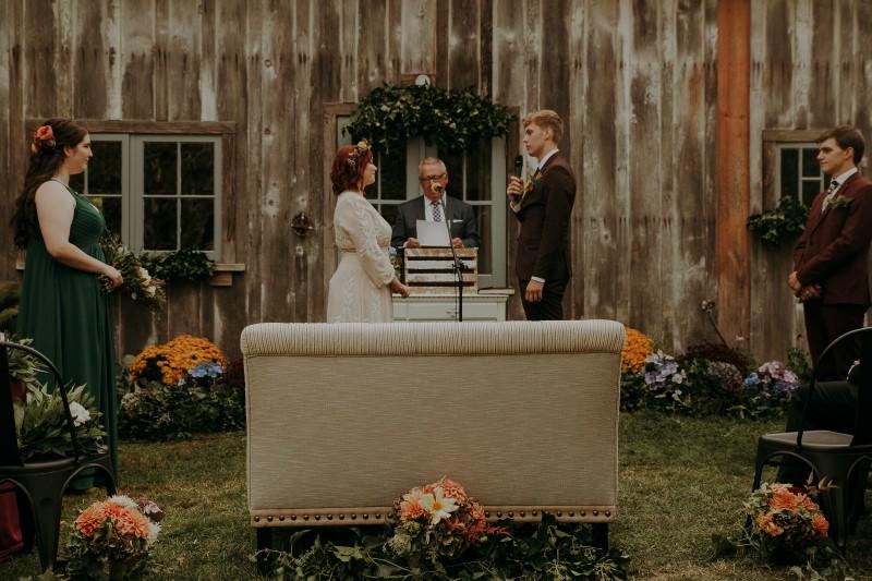 Charming Farm Wedding Vows as bride and groom stand at Bilston Creek Farm