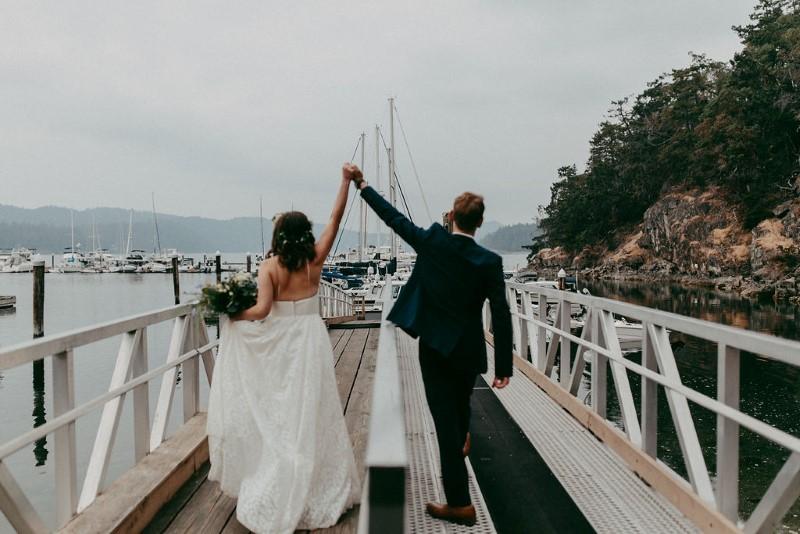 West Coast Newlyweds at Poets Cove Marina