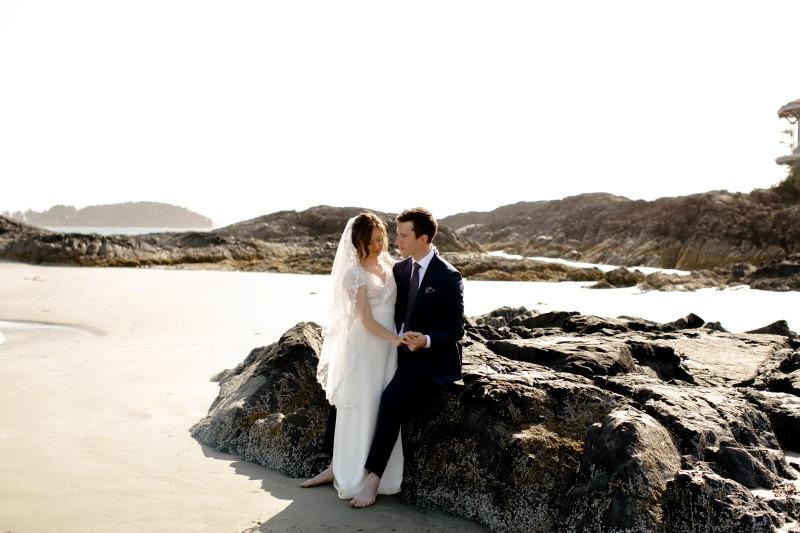 Rainforest Vows Couple Pose On Beach Rocks at Wickaninnish Inn