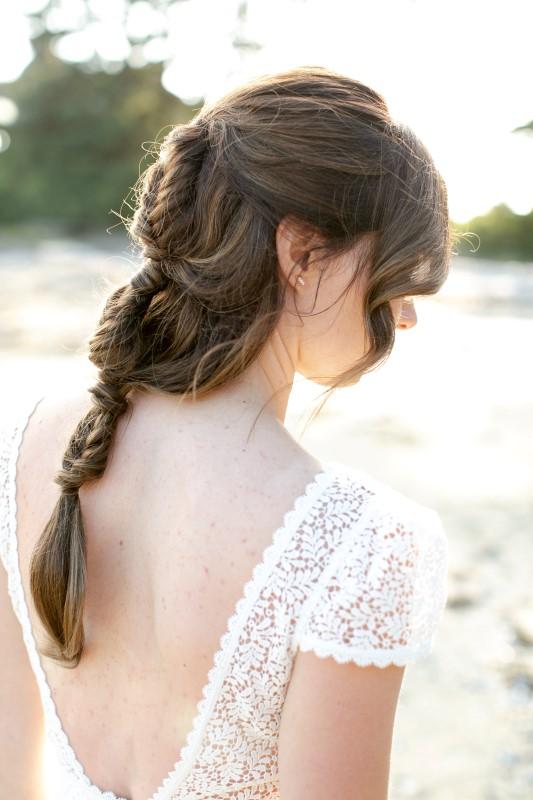 West Coast Bride with Loose Braid by Salty Dolls Hair Salon