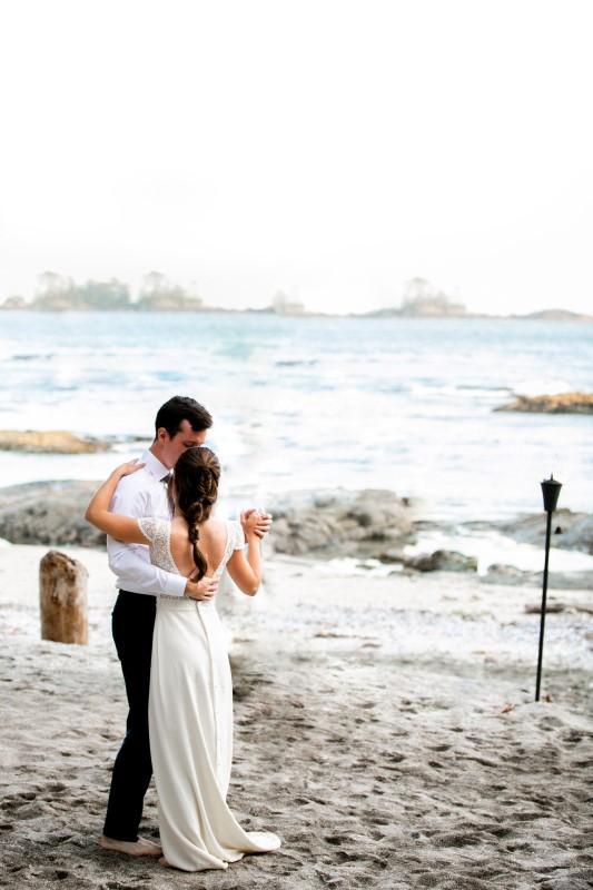 Wedding Couple Dance On the Beach at Wickaninnish Inn Tofino BC