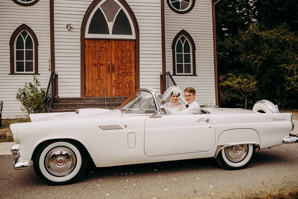 Vintage 60's Wedding Couple in Vintage Car in front of tiny church on Vancouver Island