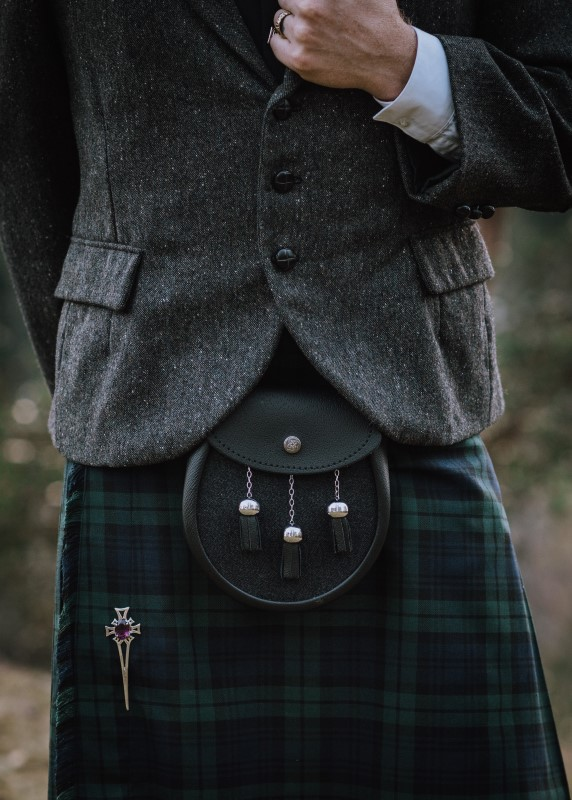 Sporron, Jacket and Plaid Kilt worn by groom by North of Hadrians