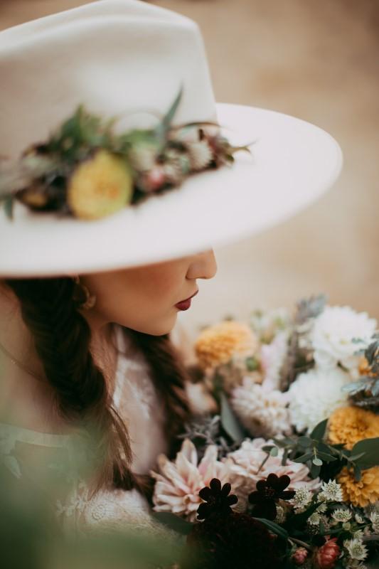 Stylish Southwest Brides Hat With Flowers on Vancouver Island