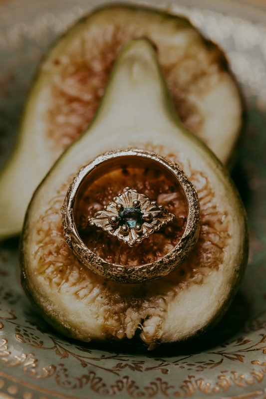 Stylish Southwest Fruit with Wedding Rings by Emma Glover Design
