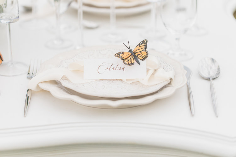 Monarch butterfly on edge of white place on wedding decor table in Vancouver