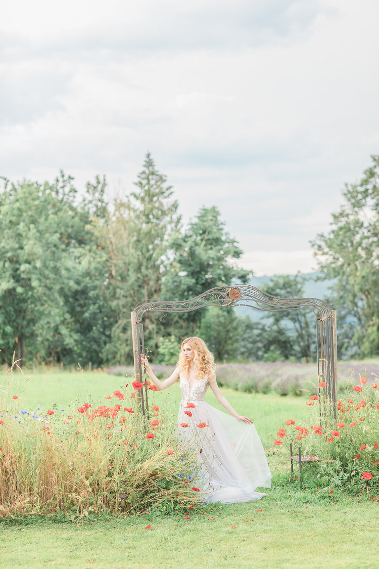 Bridal Butterflies and Poppies in Tuscan Garden Vancouver Wedding Venue
