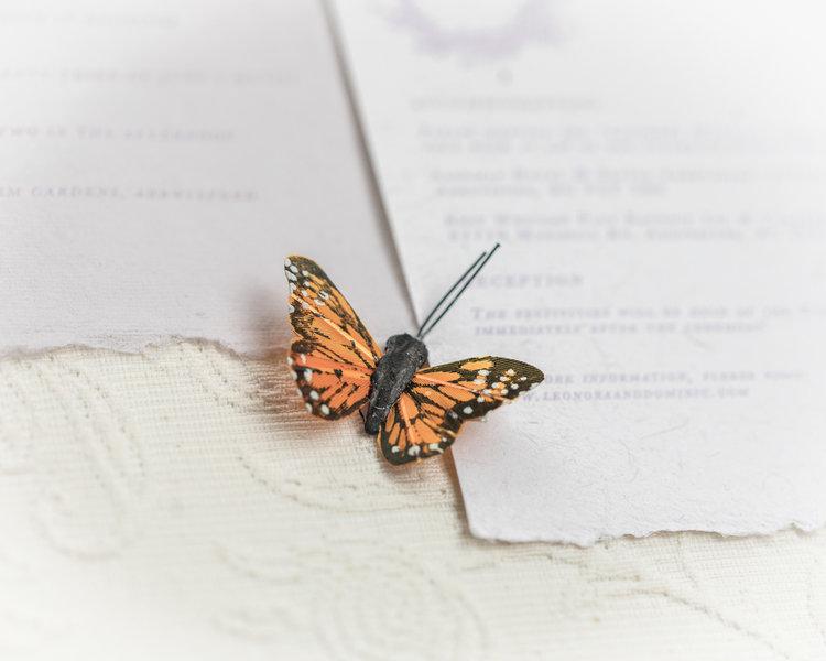 Monarch Butterfly on Wedding Invitation by Ayla Pena Vancouver