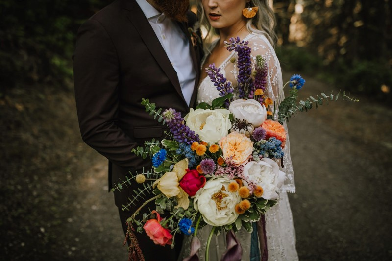 Colourful Loose Bridal Bouquet by Bespoke Blossoms