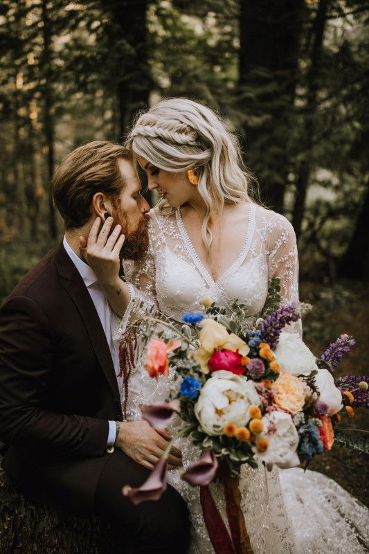 Romantic Bride and Groom at Love and Llama Wedding by Myrtle & Moss Photography