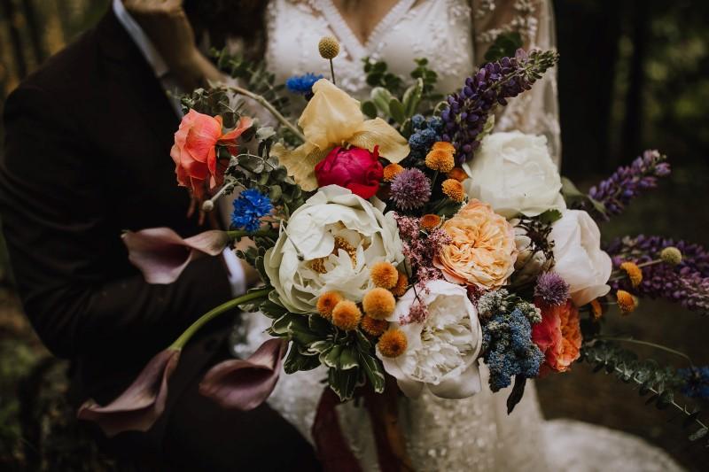 Multi-Colored Romantic Brides Bouquet by Bespoke Blossoms