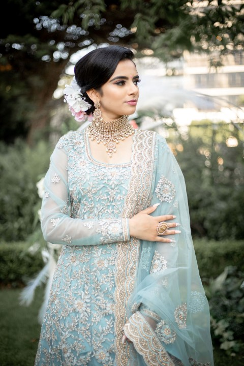Vancouver Bride in ice blue and lace sari gown by Key Events and Weddings