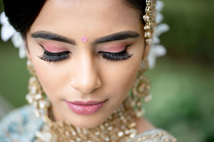 Indian Bridal Makeup with Light Pink eyeshadow and lips by Safyia Goriya