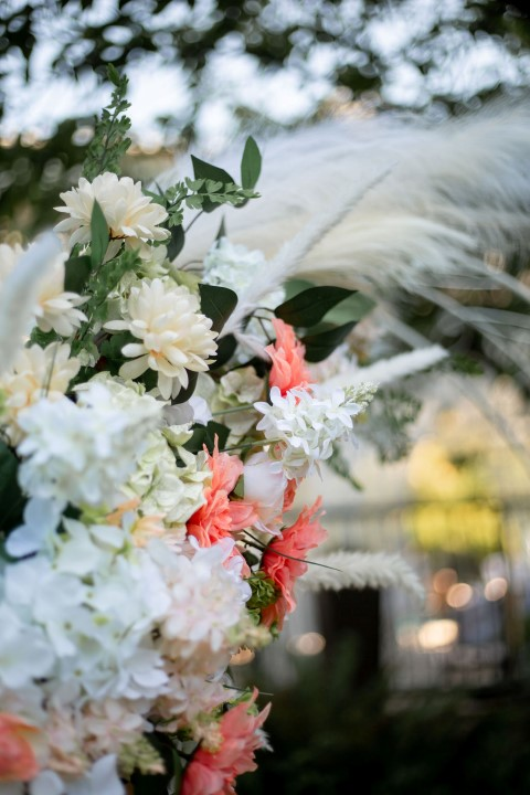 Wedding Style Ceremony Hoop with dahlias and feathers at Westin Bayshore Vancouver
