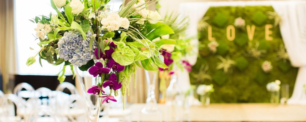 Westin Bayshore Hotel Vancouver Wedding Venue with Flowers on Table