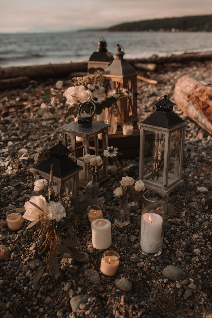 Lanterns and candles for beach ceremony by Jennifer Piicard Photography