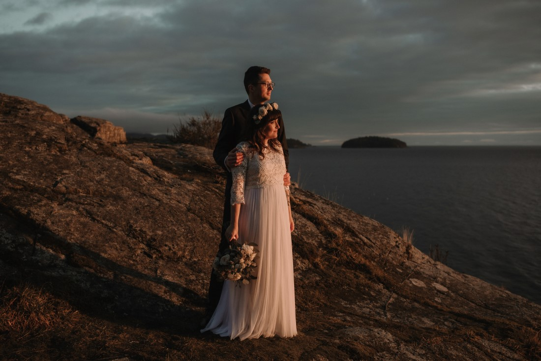 Sunshine Coast Elopement newlyweds look out to the ocean Coastal Weddings and Events