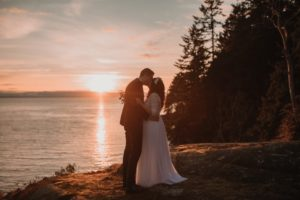 Sunshine Coast Elopement couple on beach while sun sets behind by Jennifer Picard