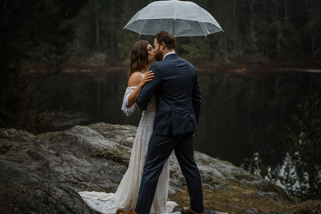 Bride and Groom under lace umbrella on Vancouver Island