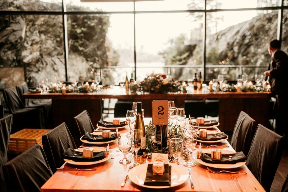 West Coast Wedding Decor Reception tables set at Black Rock Oceanfront Resort