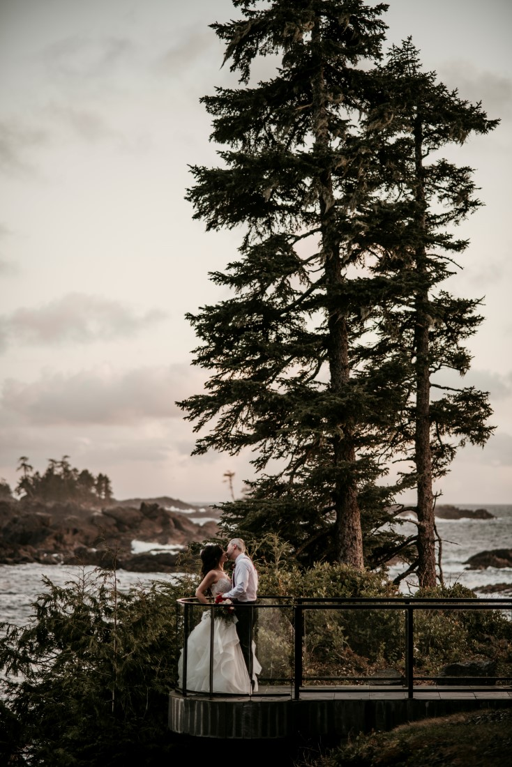 Ucluelet Oceanside Wedding Iconic Walkway Shot of Bride and Groom at Black Rock Oceanfront Resort Jen McLeod Photography