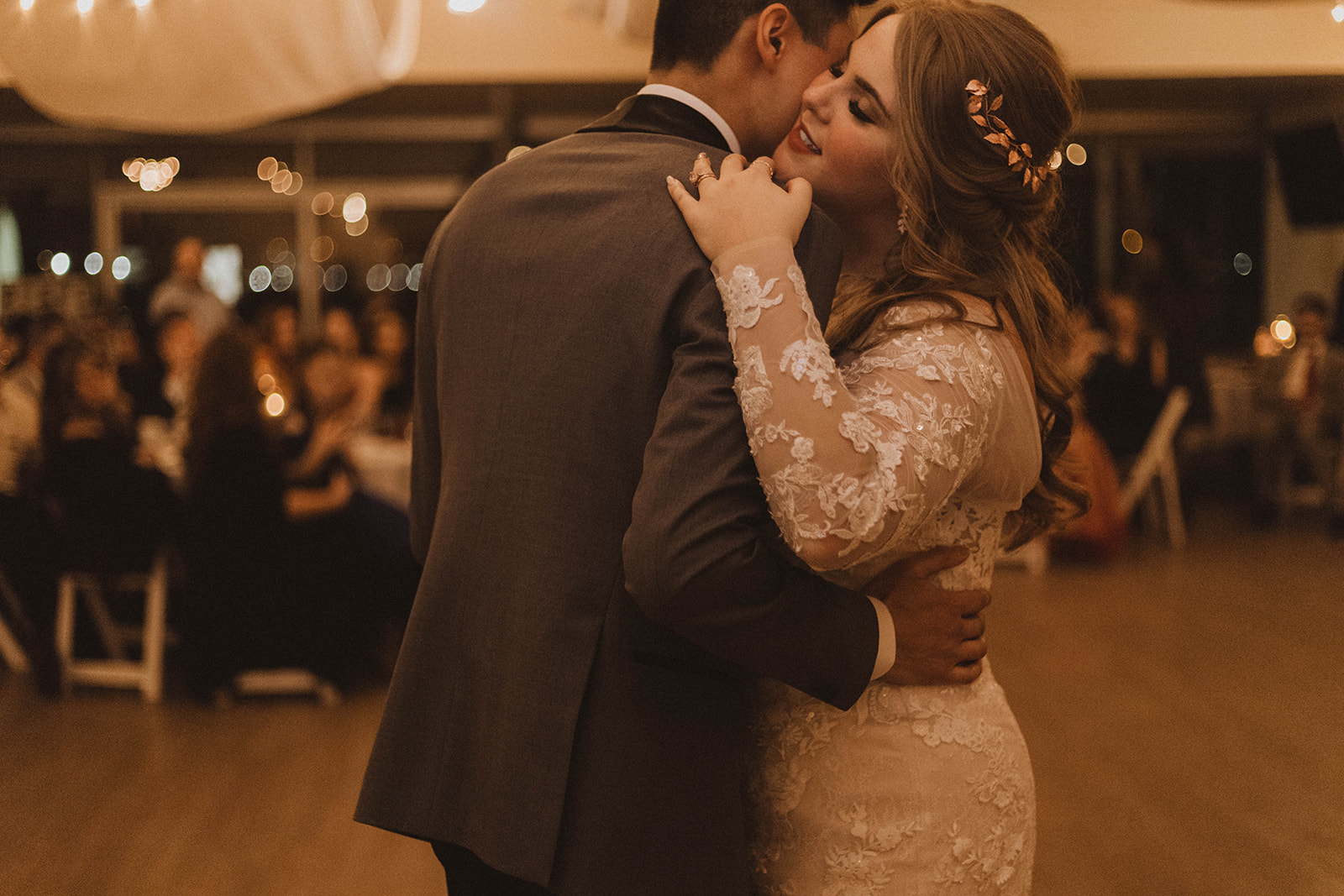 UBC Newlyweds first dance surrounded by lights and guests in Vancouver