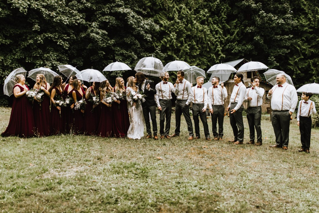 A Farm Table Wedding Party in field in Lake Cowichan