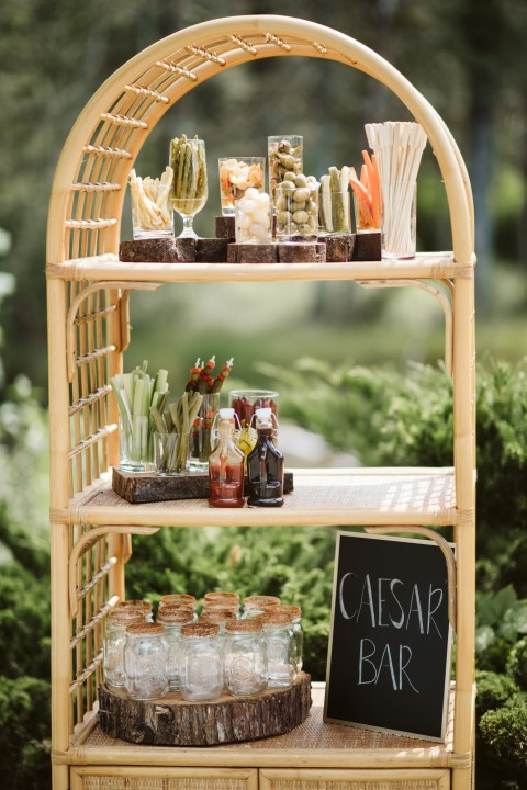 Drink Bar at Forest Wedding on Vancouver Island