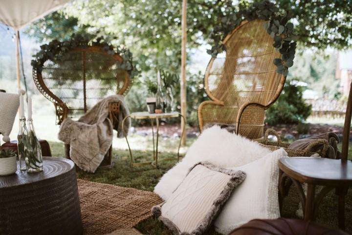 Rattan chairs and greenery