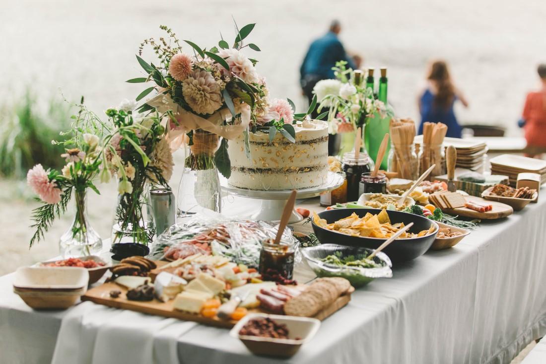 Ocean Wedding Reception Table with Wedding Cake in Tofino