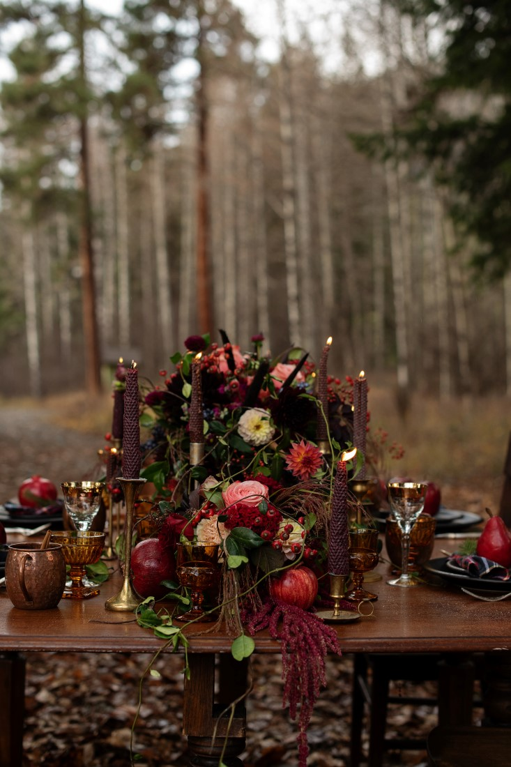 Magical Woodsy Wedding Reception Table Decor by Urban Fig Photography