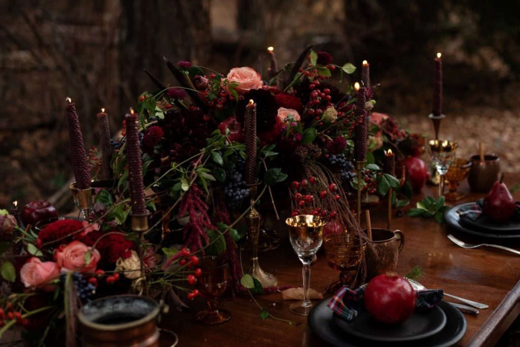 Magical Woodsy Wedding Reception Table with Rich Autumn Colors and fruit by Deborah Lee Designs Vancouver