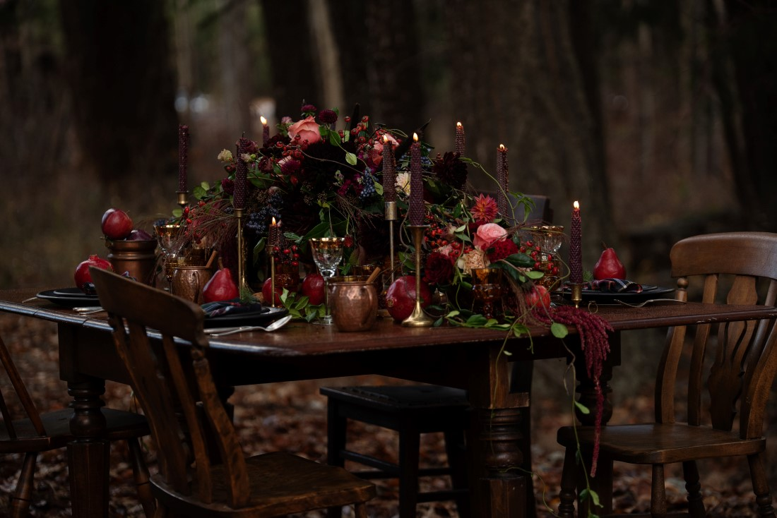 Wedding Reception Table in the Woods with Autumn colors and pomegranate pears and grapes by Deborah Lee Designs Vancouver