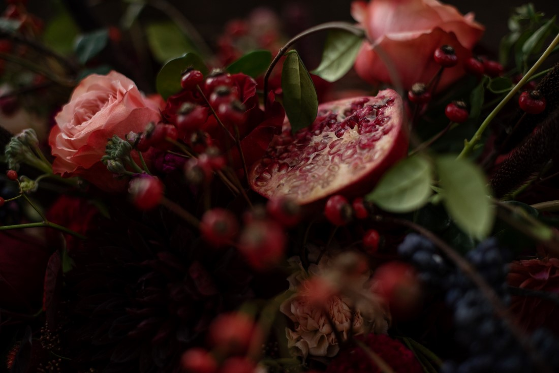 Pomegranate and Grapes in Wedding Reception Floral by Deborah Lee Designs Vancouver