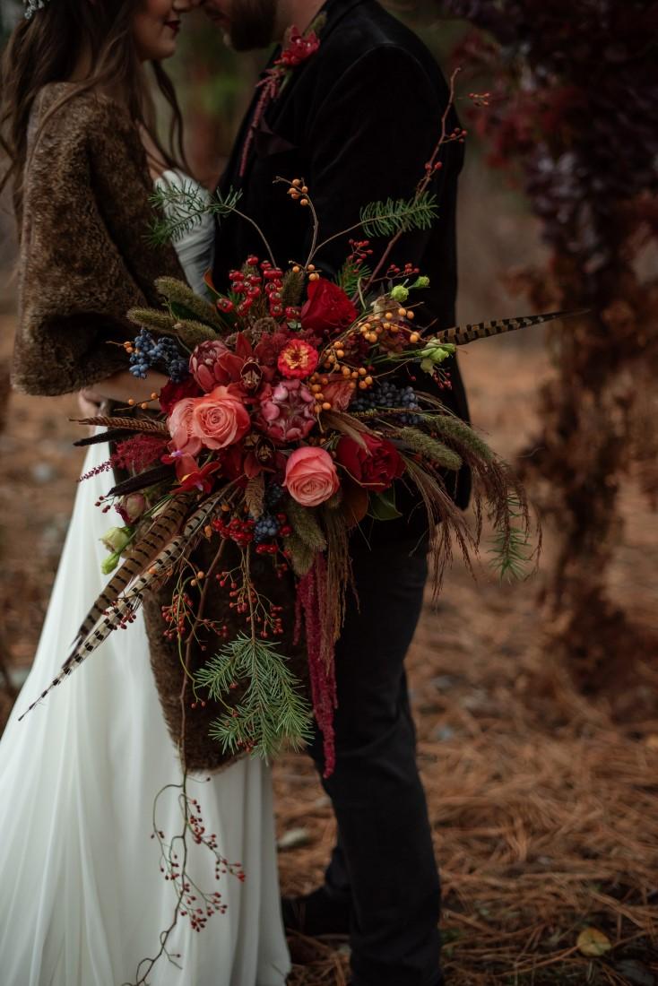 Bridal Bouquet of deep pink roses and burgandy protea by Deborah Lee Designs Vancouver