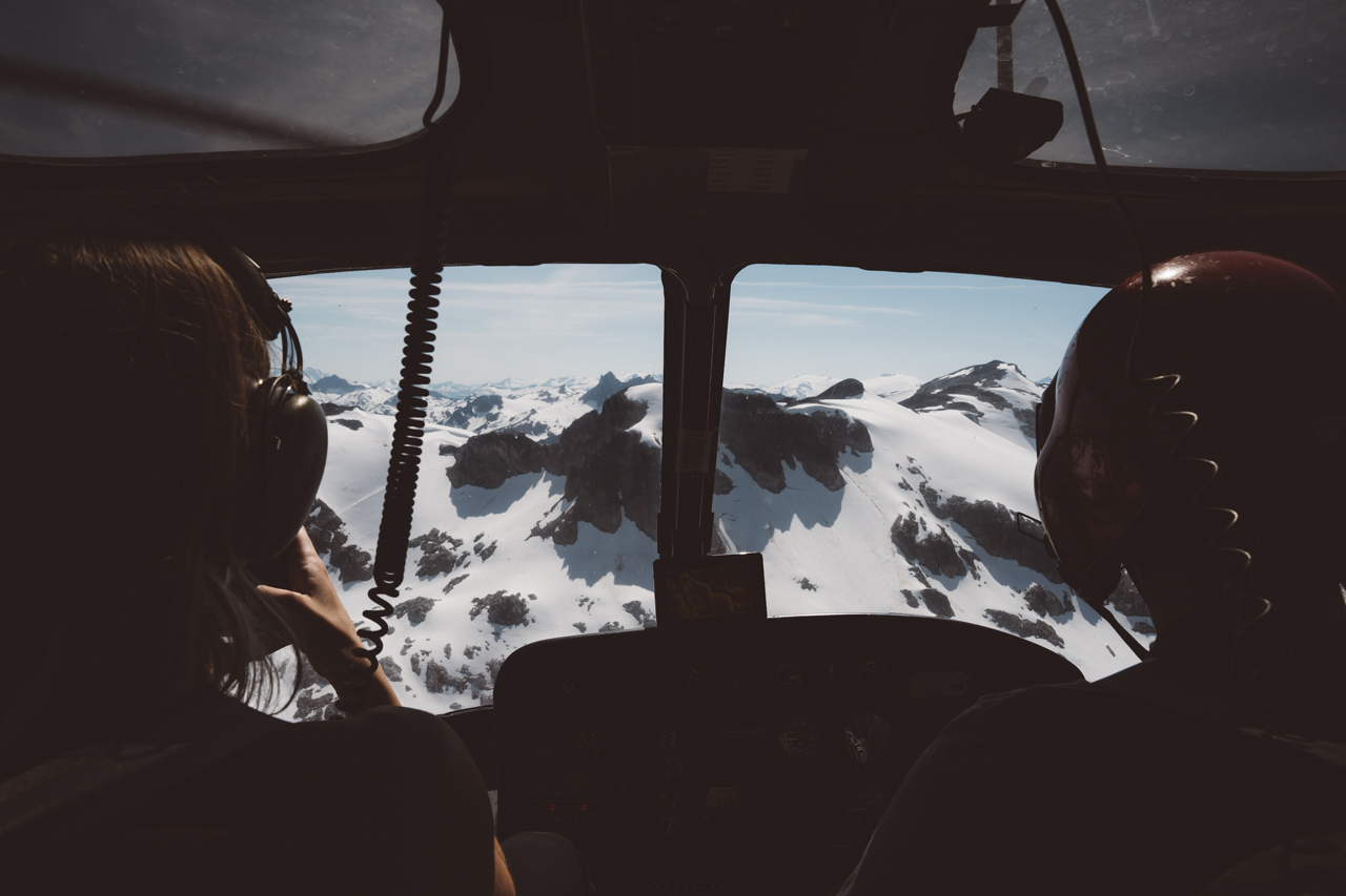 Blackcomb Helicopter Pilots take couple up to their Whistler Wedding