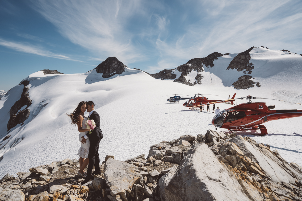 Wedding in the Mountains newlyweds by Whistler helicopter