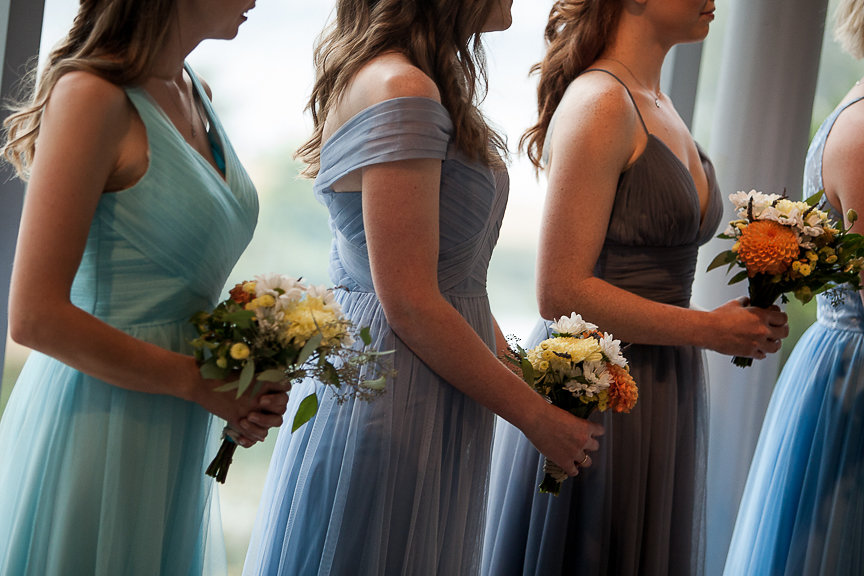 Bridesmaids in Blue gowns by Tulle and Chantilly