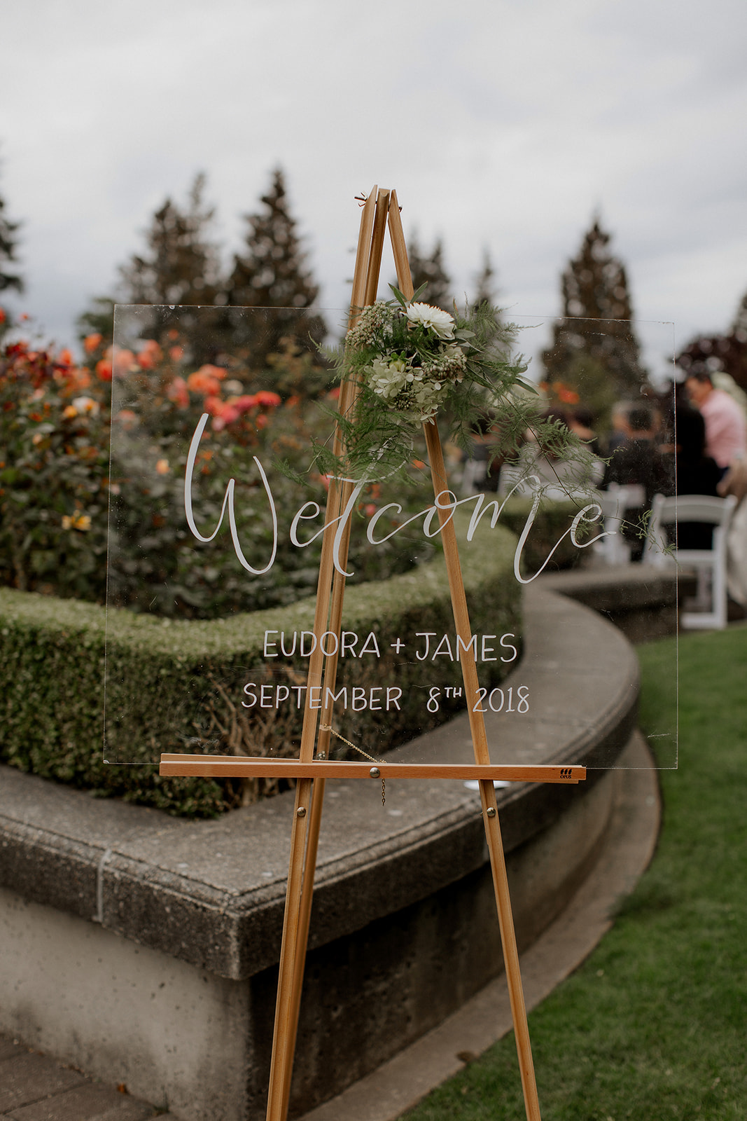 UBC Rose Garden Wedding Ceremony Welcome Sign in Vancouver