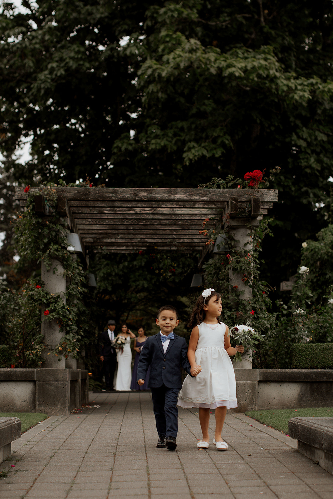 Flowergirl and Ring Bearer at UBC Rose Garden in Vancouver