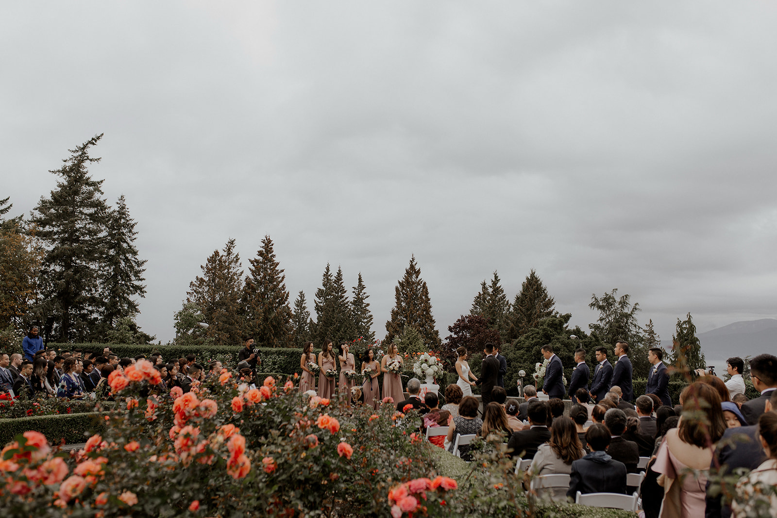 UBC Rose Garden blooms with wedding ceremony in background