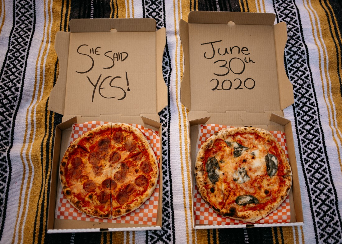 Engagement Announcement on Pizza boxes by Evergrey Photography