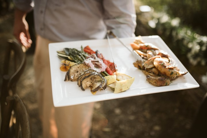 Appetizers at outdoor reception by Truffles Catering Vancouver Island