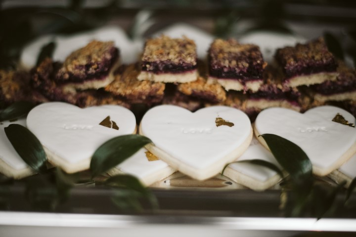 White cookies by Truffles Catering Vancouver Island