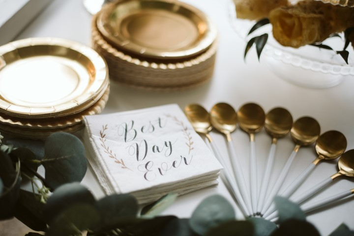 Best Day Ever napkins at wedding reception