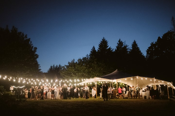 Wedding Reception under café lights in a field on Vancouver Island