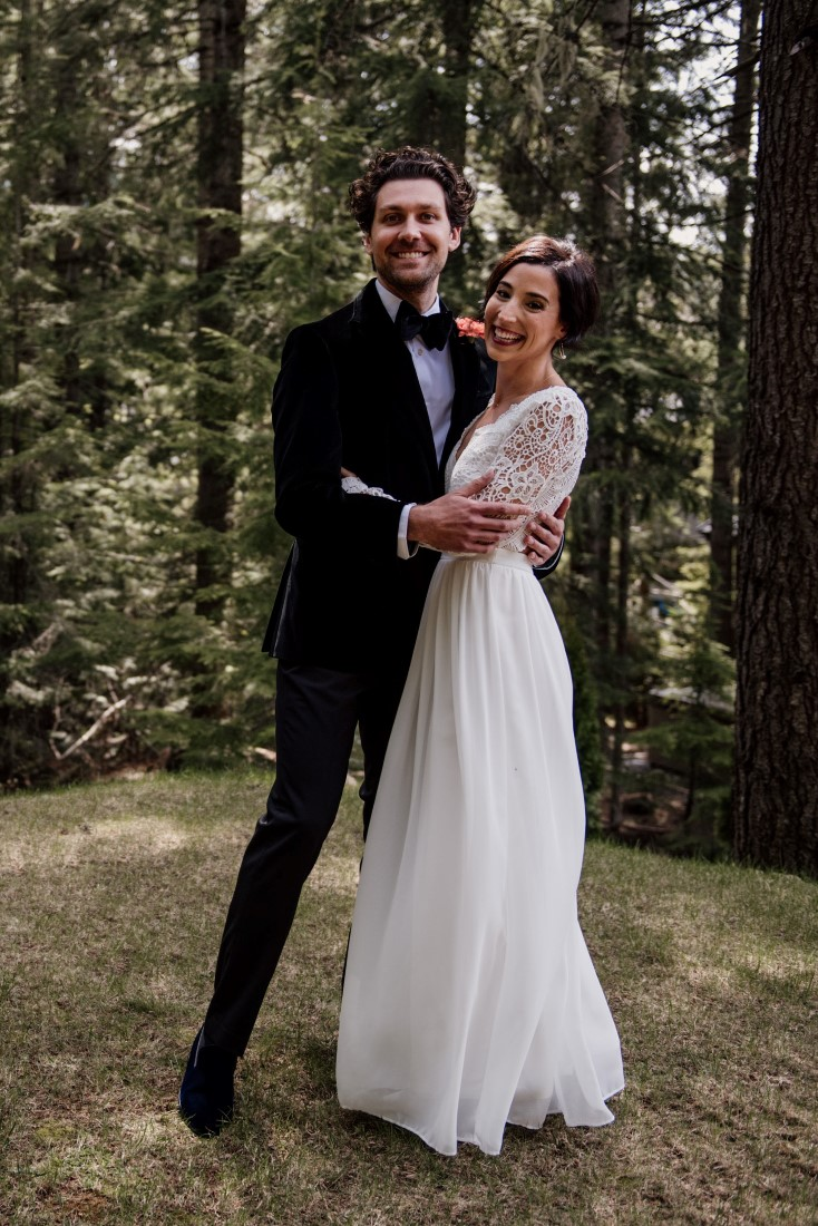 Wedding Couple smile after first look by Emily Serrell