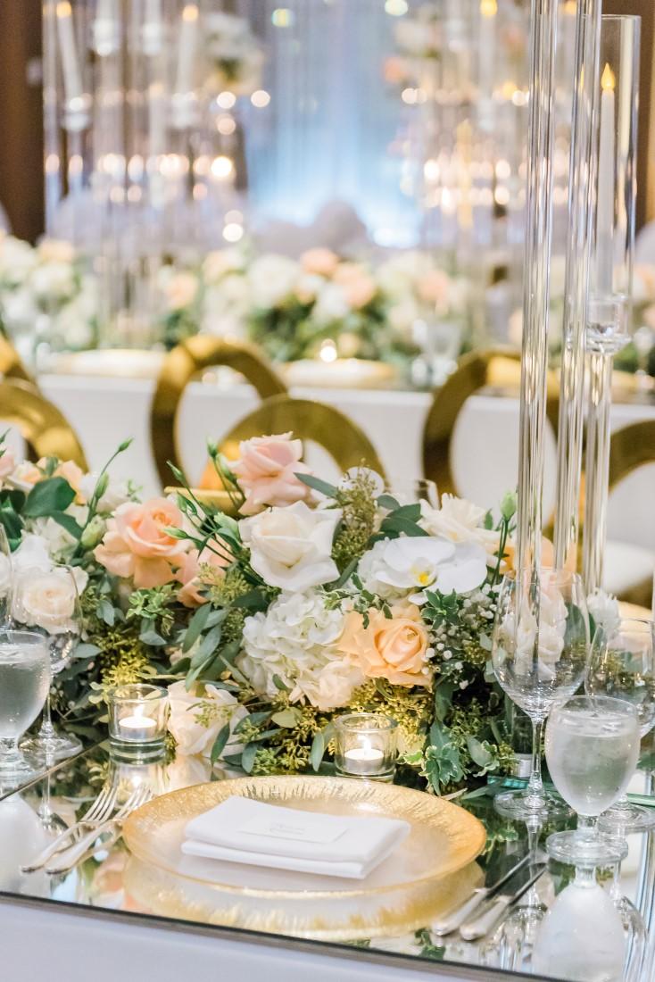 Vancouver Club Wedding Reception Table Decor white and peach floral design Fleur De Lis Events