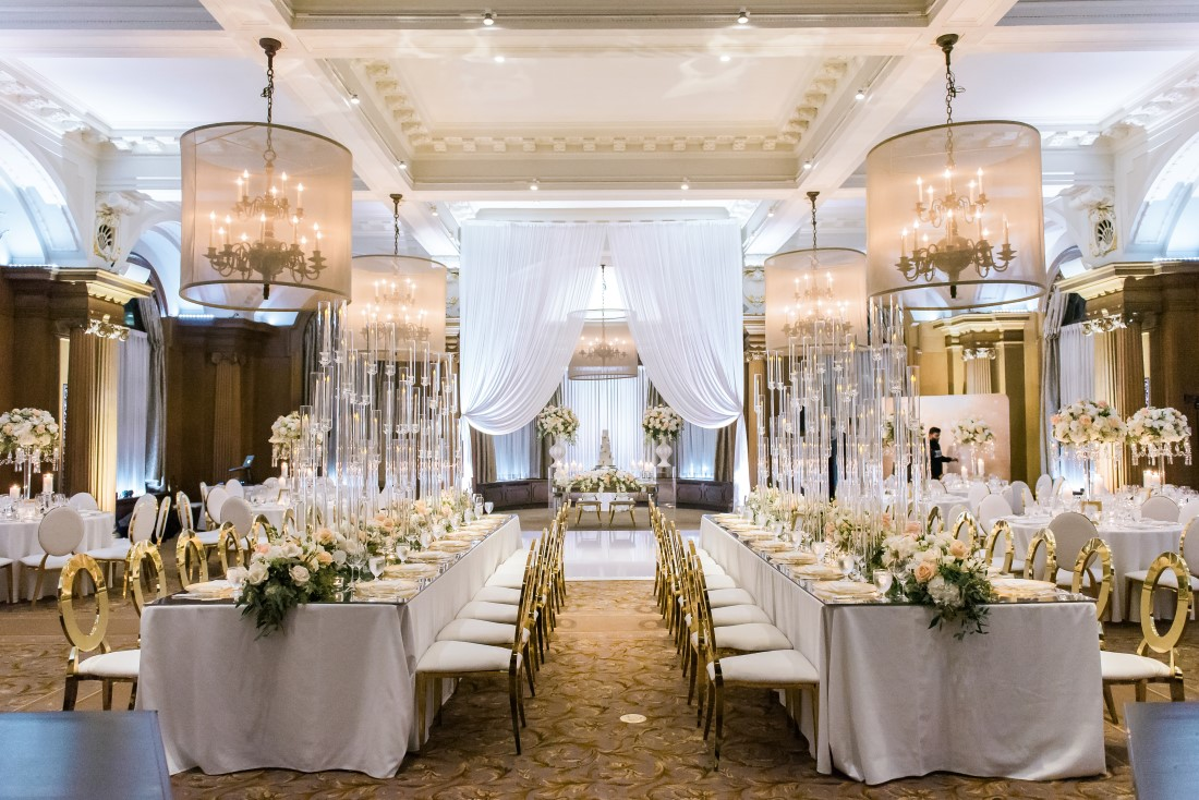 Vancouver Club Wedding Ballroom in white decor and roses